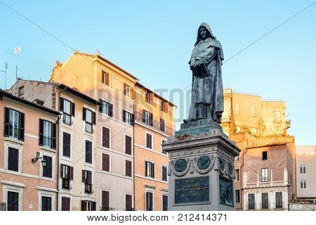 Monument to the philosopher Giordano Bruno in Campo dei Fiori in Rome