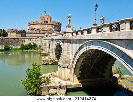 Castel Sant Angelo and Ponte Sant Angelo crossing the river Tiber in Rome