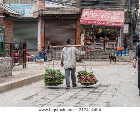 KATHMANDU, NEPAL- OCTOBER 05, 2017: Nepalese fruit market. A man carries vegetables for sale