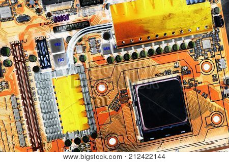 computers motherboard, vintage processing concept
