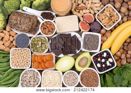 Food rich in magnesium, top view