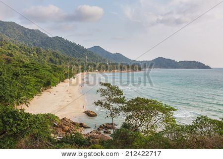 Lonely beach on Koh Chang island during sunset in Thailand