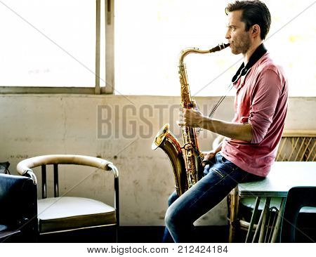 A musician with his saxophone