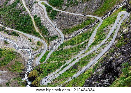 Norway troll road, mountain route of Trollstigen