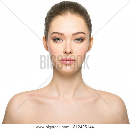 Young adult woman with beautiful face, clean healthy skin - isolated on white. Skin care concept.