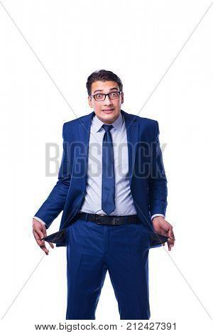 Bankrupt broke businessman isolated on white