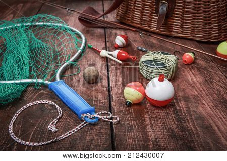 Fishing tackle net with bobbers and kreel