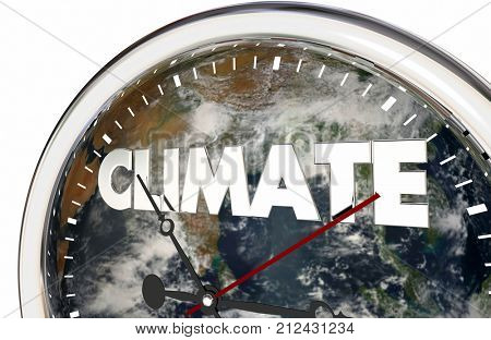 Climate Change Clock Earth Hands Ticking 3d Illustration - Elements of this image furnished by NASA
