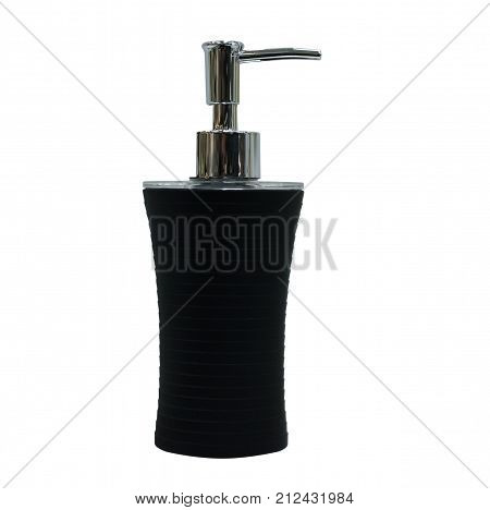 Soap dish dispenser for liquid soap isolated on white background. hygiene facilities.
