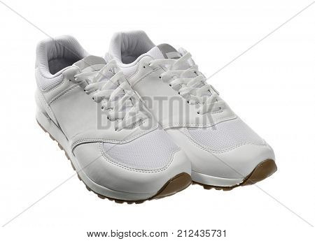 A pair of white sport shoes isolated on white background.