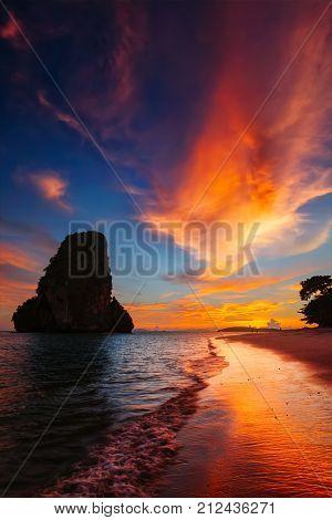 Tropical holidays vacation sunset beach. Pranang beach. Railay , Krabi Province Thailand