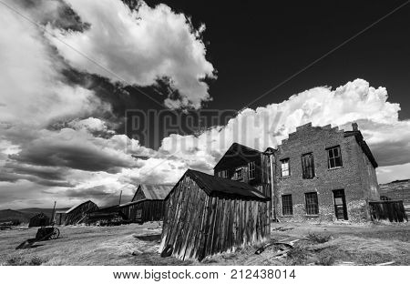 Ghost town of Bodie is a National Historic Landmark. It is located in Mono County, Sierra Nevada - California. United States of America. The town was founded in 1859. Black and white