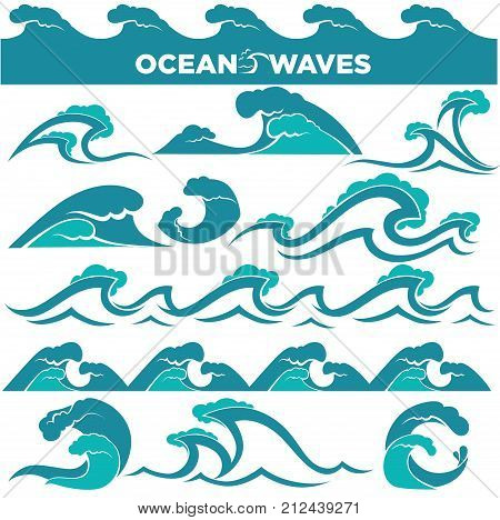 Waves icons of water tidal gale, blue ocean wave and stormy tidal splashing flows. Vector isolated marine, surf wind streams