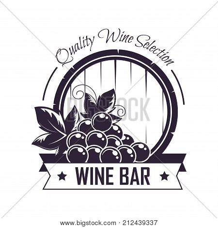 Wine bar or winemaking club house logo template for shop label. Vector isolated wine wooden barrel grape vine vintage quality selection with premium ribbon and stars