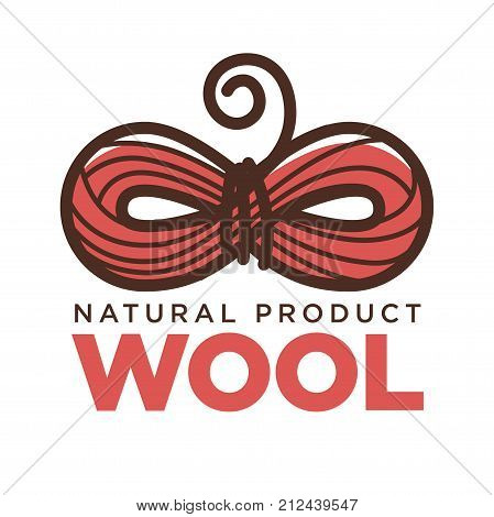 Knitting natural wool product logo template or clothing label. Vector isolated icon of wool clew in bow shape and woolen yarn thread