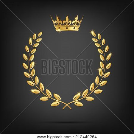 Vector golden laurel wreath with crown isolated on black background