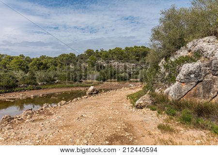 Ses Fonts de n'Alis pond in the natural park of Mondrago in Santanyi on Majorca island (Balearic Islands, Spain)