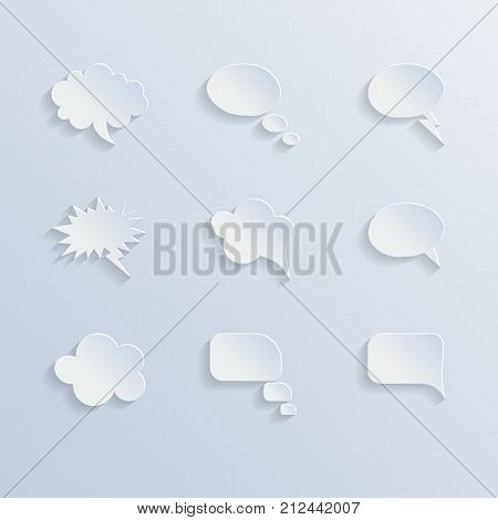 Paper speech bubbles set. Vector speech bubble illustration.