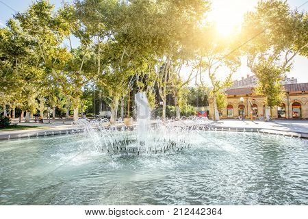 View on the Esplanade Charles de Gaulle park with fountain in Montpellier city in southern France