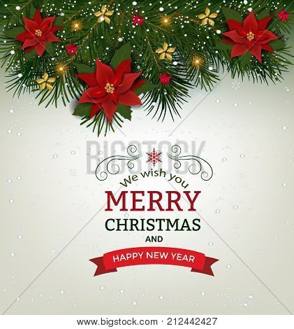 Christmas background with fir branch borders and decorative elements.Christmas border with trees balls stars and other ornaments