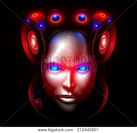 Robot woman face or head front view. Artificial intelligence, Artificial intelligence looks seriously into the eyes, Plastic humanoid mask hides the artificial brain. Future concept