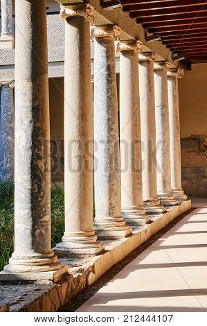 Reconstruction of a Roman villa with Ionic columns in the city of Kos in Greece