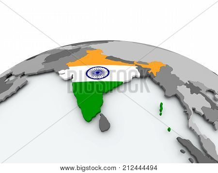 Flag Of India On Globe