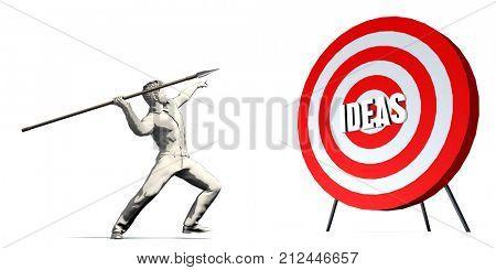 Aiming For Ideas with Bullseye Target on White 3D Render