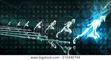 Workforce Abstract with Business People Running Ahead 3D Render