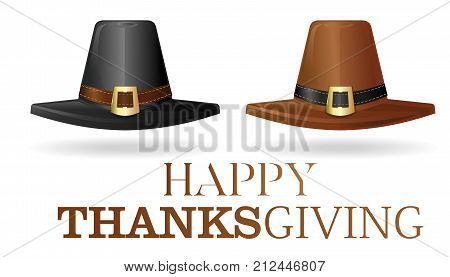 Pilgrims hat set. Black and brown pilgrim hat. Collection hats of the first settlers. Happy Thanksgiving. Vector illustration isolated on white background