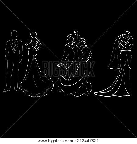 The bride and groom. Set. The black contour of a bride and groom isolated on black background. Vector illustration.