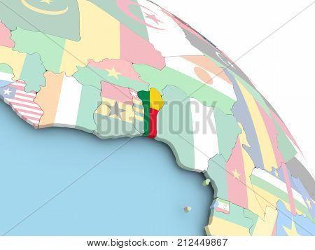 Flag Of Benin On Globe