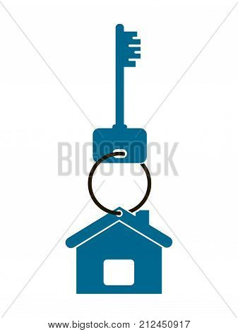 keys from the apartment with a keychain in the form of a house isolated