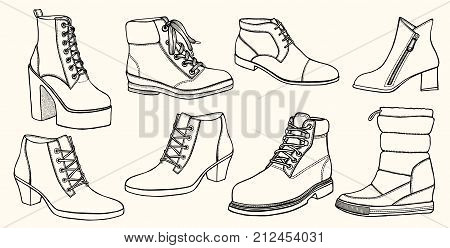 Hand drawn vector set of shoes. Creative ink art work. Doodle style drawing sneakers, boots, sandals, platform