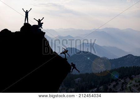 climbing helping team work success concept & team success