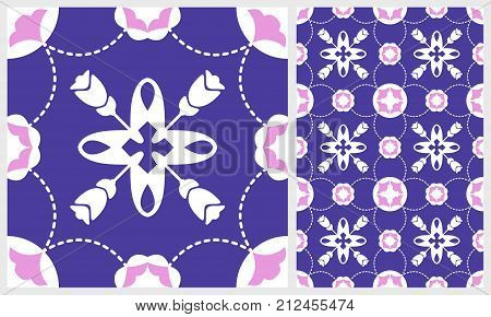 Gorgeous floral tile. Moroccan or Mediterranean octagon tiles tribal ornaments. For wallpaper print pattern fills web page background surface textures. Delicate pink violet. Vector illustration