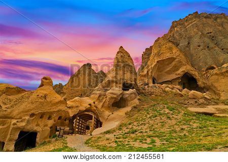 Beautiful Sunset With Clouds Cave Town In Goreme, Cappadocia, Turkey