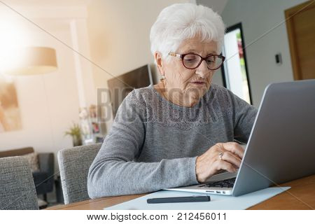 Old woman at home using laptop computer