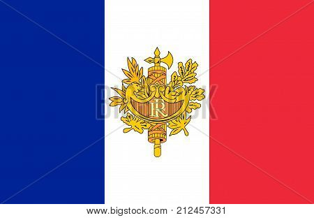 Flag And Coat Of Arms Of France