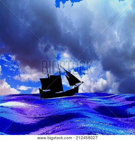 Landscape with sea silhouette of sailboat and dramatic sky with storm clouds. Blue, white and purple waves, old ship and dramatic sky. Lonely ship with sails on the turbulent sea. 3d illustration