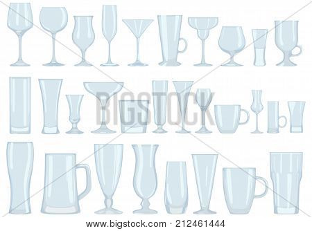 Vector set of glass transparent glasses for alcoholic and soft drinks in a flat style, isolated on a white background. Dishes for restaurants, cafes, bars and home use.