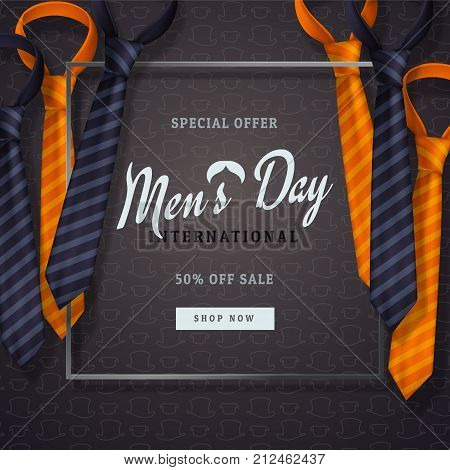 International men's day or Father's Day vector greeting card. Realistic ties orange and dark blue with border on dark background with pattern of hats. Discount text. For design. 3d illustrations