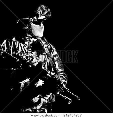 Paratrooper of french 1st Marine Infantry Parachute Regiment RPIMA studio shot firing pointing weapons poster