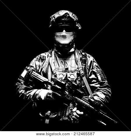 Paratrooper of french 1st Marine Infantry Parachute Regiment RPIMA studio shot poster