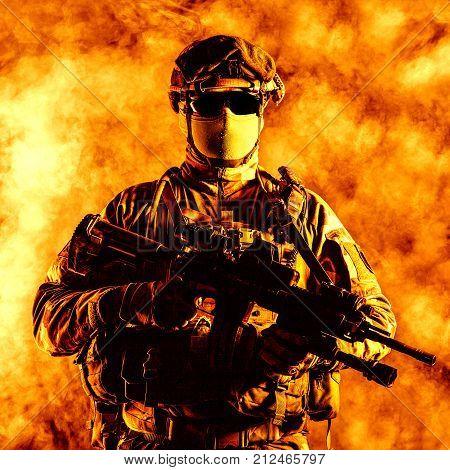 Paratrooper of french 1st Marine Infantry Parachute Regiment RPIMA studio shot