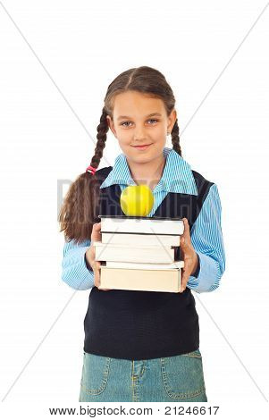 Student Girl With Stack Of Books