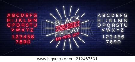 Black Friday sale neon sign, neon banner, background brochure. Glowing neon sign, bright glowing advertising, sales discounts Black Friday. Vector illustration. Editing text neon sign.