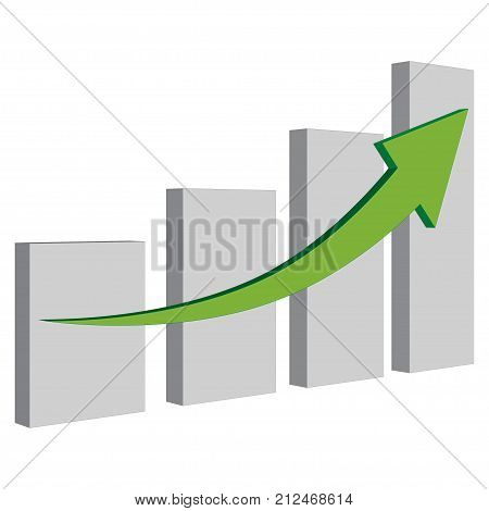 Grow financial business graph with gray data and green arrow