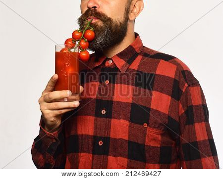 Farmer Pretends To Use Bunch Of Cherry Tomatoes As Straw