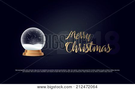 Winter in glass ball. Magic Christmas crystal ball of glass, snow and gold stand. Vector illustration